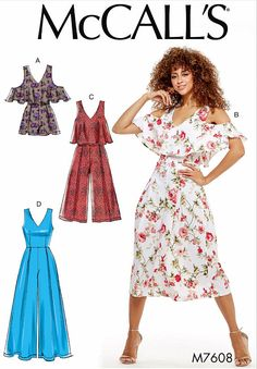Items similar to Sewing Pattern Jumpsuit Pattern, Women's Romper Pattern, Palazzo Jumpsuit Pattern, McCall's Sewing Pattern 7608 on Etsy Mccalls Sewing Patterns, Vintage Sewing Patterns, Clothing Patterns, Dress Patterns, Sewing Ideas, Diy Clothing, Sewing Crafts, Sewing Projects, Romper Pattern