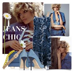 """JEANS AND DAISY"" by tiziana-melera ❤ liked on Polyvore featuring Ashish, Jimmy Choo, Maison Margiela, denim, Daisy and springsummer2015"