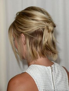 Simple and easy hairstyle for short hair Here's another spiffy look that is easy to achieve with a bob-cut. The hair is cut to the same-length with sharply textured tips for an edgy urban look. The top layer is swept back and fastened in a messy half-up style, with blonde highlights and honey shades creating …