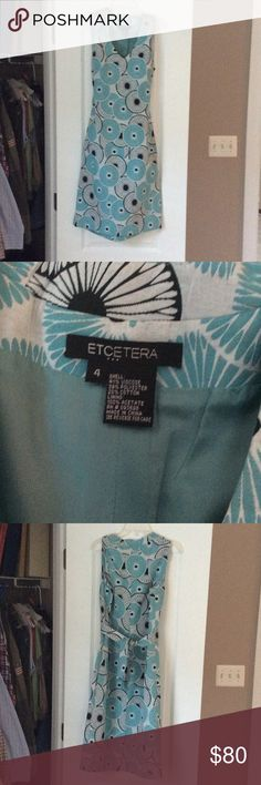 ETCetera Dress, size 4 Etc. dress, size 4. Sleeveless, teal blue and black geometric design. Only worn once. Etcetera Dresses