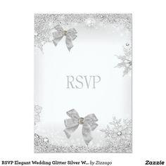 RSVP Elegant Wedding Glitter Silver White Bow Set