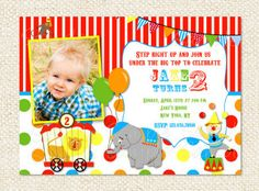 Circus Carnival Birthday Invitations by LollipopPrints on Etsy, $10.00