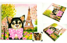 """Custom Dog Portrait / Custom Pet Portrait  1 by TheStardustStudio, only $70.00  Paris, Je T'aime. This romantic design is for all the Paris lovers! Featuring breathtaking landmark Eiffel tower, soft pink sky and blooming cherry blossom, this painting is a Paris themed room """"must have""""!"""