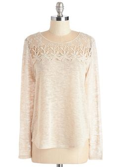 Chatting Over Coffee Top - Mid-length, Sheer, Knit, Lace, Cream, Solid, Crochet, Lace, Casual, Boho, Long Sleeve