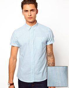 Hemd von ASOS aus 100% reiner Baumwolle Button-Down-Kragen aufgesetzte Brusttasche Streifendesign normale Passform