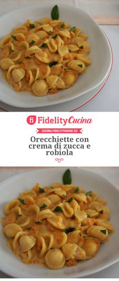 Orecchiette con crema di zucca e robiola Cooking For Dummies, Vegetarian Recipes, Healthy Recipes, Rice Pasta, Tasty, Yummy Food, Food Humor, I Foods, Clean Eating
