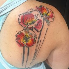 Laura Bochet poppy tattoo