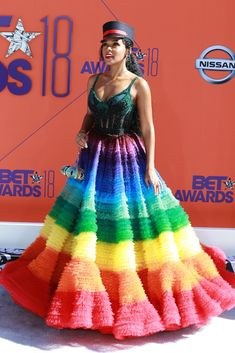 Janelle Monae switched up her usual black-and-white look for the 2018 BET Awards, opting instead for the gown with a beaded bodice and a rainbow-colored ruffle skirt.