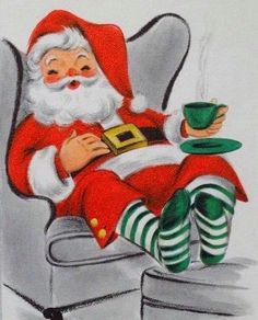 Vintage Christmas Images, Old Fashioned Christmas, Christmas Past, Retro Christmas, Vintage Holiday, Christmas Pictures, Xmas, Christmas Coffee, Father Christmas