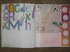 """Leslie Yudman, art journal from """"30 Days in Your Journal"""" -- using the Balzer Designs """"Julie's Journaling Labels"""" stamp (the cool ticket stamp)"""
