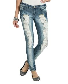 Embroidered Embellished Destroyed Jean from WetSeal.com