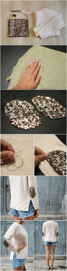 diy sequin elbow patches