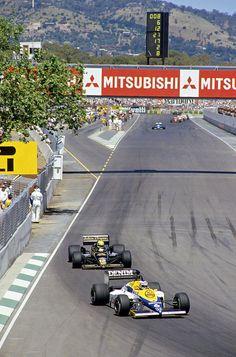 Keke Rosberg in a Williams-Honda and Ayrton Senna in a Lotus-Renault at the 1985 Australian Grand Prix.