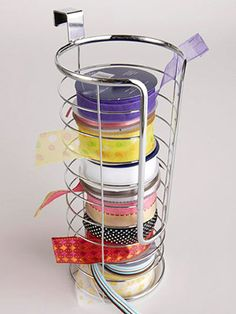 storage solutions, ribbon storage, organ, ribbons, papers, paper holder, craft room, storage ideas, toilet paper