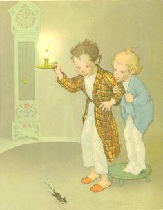Hickory Dickory Dock, Vintage Children's Print, Marjorie Torrey Illustration, Sing Mother Goose