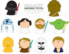 Star Wars inspired Galaxy Paper Tots..for imaginative play, cupcake toppers...and more in the set!