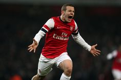Sensational, Arsenal's Jack Wilshere celebrates scoring their winning goal against Swansea in FA Cup third round replay Jack Wilshere, Swansea, Fa Cup, Premier League, Arsenal, Motorcycle Jacket, Soccer, Football, Celebrities