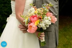 Love the shape and different flowers in this bouquet, but not the colors // Tracy and Riva