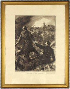 An etching depicting the daily lives of soldiers during World War I. #etchings #worldwar #soldiers