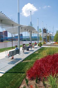 It's Not Hard To See Why Everyone Has Fallen In Love With This Riverfront Park In Cincinnati is part of architecture Board Presentation Design - Our city has fallen in love with this picturesque park along Cincinnati's riverfront Park Landscape, Landscape Plans, Urban Landscape, Parque Linear, Public Space Design, Public Spaces, Urban Park, Landscape Architecture Design, Shade Structure