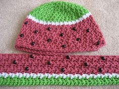Watermelon hat and scarf set by Gege_Crochet, via Flickr free pattern