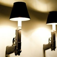 Awesome lamps made from ceramic gun plasters.