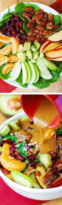 Thanksgiving side dish recipe for the Fall: Apple Cranberry Spinach Salad Recipe. Ingredients include Pecans Avocados (and Balsamic Vinaigrette Dressing) - delicious healthy vegetarian gluten free recipe!