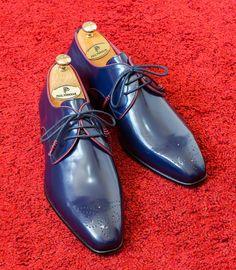 Paul Parkman Medallion Toe Navy Derby Shoes   Website: www.paulparkman.com  #paulparkman #derbyshoes  #handmade #bespoke #luxury #shoemaker #handcrafted #shoesformen #mensshoes #handmadeshoes #mensfashion #patinashoes #bespokeshoes #luxuryshoes #shoeaddict #shoegasm Mens Suede Boots, Men's Shoes, Shoes Men, Derby Shoes, Luxury Shoes, Bespoke, Red Leather, Oxford Shoes, Toe