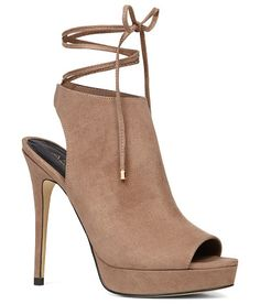 Nulia pumps by ALDO. What happens when you cross a platform peep-toe pump and a mule? A show-stopping style in suede-like finish to liven'...