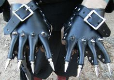 Kewl! Handmade Black Leather Clawpaws w Spike Claws. If you always wanted claws (and who hasn't always wanted claws?), now's your chance. Only $125.00 on eBay.