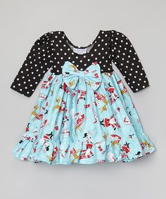 Blue Retro Holiday Dress - Infant, Toddler & Girls