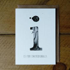 "i is for incrediballs – 5 x 7"" greeting card – kerry lyons co."