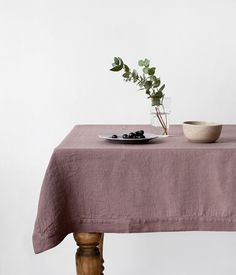 Ashes of Roses Vintage Stone Washed Linen Tablecloth