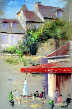 Artwork >> Breton Michel >> coffee of the post office Crayons Pastel, Pastel Pencils, Beautiful Landscape Paintings, Pastel Landscape, Pastel Drawing, Pastel Art, Paintings Famous, Traditional Artwork, Architecture Drawings