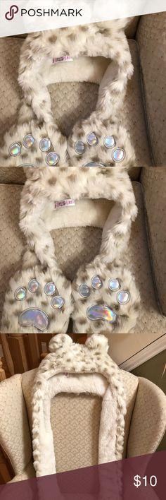 Unisex Bear Animal Hoodie Hat Faux Fur Paw Prints Mitten Gloves Pocket Cap X/'mas