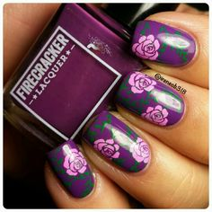 Some double stamping from @uberchicbeauty plate 1-02 and I used @mundodeunas polish.  Base is 'The Grape Beyond' by @firecrackerlacquer. @glistenandglow1 topcoat and cleaned up with my @cosette.nail.shop brush and I used my Petite stamper.