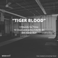"""TIGER BLOOD"" is one of CrossFit New England's official benchmarks, first posted on their website March 5, 2012. If you know your time for the classic ""GRACE"" WOD (30 Clean-and-Jerks for time), see how these runs affect it. CFNE names their daily WODs ""for fun,"" but this WOD is from a short list provided to us by CFNE's Director of Operations, Eamon Coyne."