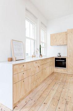 Minimal white and rough wood kitchen interior. Flinders Lane Apartment by Clare Cousins Architects Plywood Interior, Plywood Furniture, Plywood Floors, Ikea Furniture, Modern Furniture, Hardwood Plywood, Furniture Makers, Moving Furniture, Modular Furniture