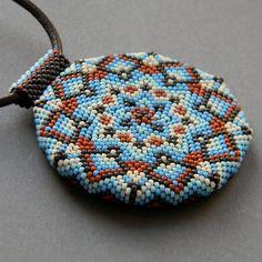 Beaded necklace Кaleidoscope  circle mandala by Anabel27shop