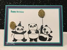 Birthday card using Stampin Ups Party Pandas & Special Celebrations, Saleabration 2018 by Kate Morgan, Independent Demonstrator, Australia.