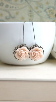 Shabby Chic Pink Roses. Romantic. Nature Garden Inspired.Cottage Chic. Bridal Wedding Floral Ear Accessories. Bridesmaids Earrings.  https://www.etsy.com/listing/152217252/shabby-chic-dusty-pink-roses-romantic?ref=shop_home_active_4&ga_search_query=dusty%2Bpink