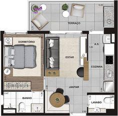 Bedroom Loft Modern Floors 57 New Ideas Studio Type Apartment, Apartment Design, Home Building Design, Home Design Plans, Small House Plans, House Floor Plans, Small Apartment Layout, Hut House, Hotel Room Design