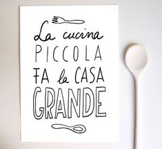 Anek LA CUCINA Kitchen Art Typography Print   high quality by anek, $30.00