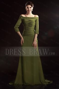 Style of Mother of the Bride Dress: Charming A-Line Off-the-Shoulder 3/4-Sleeves Floor-Length Olga's Mother of the Bride Dress: Dressbraw.com