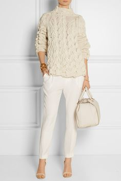 Off-white cashmere and silk-blend Slips on 50% cashmere, 50% silk Dry clean Designer color: Ivory
