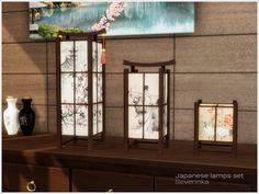 A set of lamps in Asian (Japanese) style.  Found in TSR Category 'Sims 4 Miscellaneous Sets'