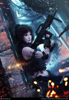 Hardcore by Marek Okon   2D   CGSociety I really like the intensity in this piece, although the lady's body armor design has glaring…omissions. I wish artists wouldn't abuse their subjects in this way.