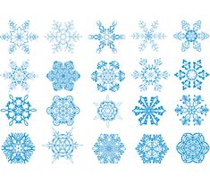 Winter snowflakes vector. Set of 18 blue vector winter snowflake templates for your Christmas ad winter related graphic designs. Format: EPS stock vector clip art. Free for download. Theme: vector snowflakes, Christmas elements.