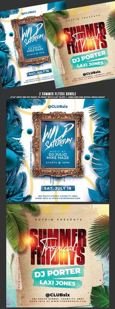 """Summer Flyer Bundle Template are 2 very modern psd flyer that will be the perfect invitation for your Night Club event, party or Ladies night party! All elements are in separate layers and all text is editable! 4 PSD Files 4""""x4"""" Ready to print + 1080×1080 Rgb Social Media Ready"""
