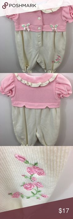 GIRLS 24 MONTHS PINK RIBBED TOP MULTI-COLOR BOTTOM BUTTON DRESS NWT ~ HEALTHTEX